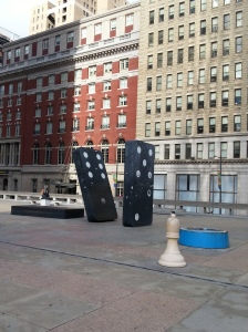 Game pieces at Municipal Services Building